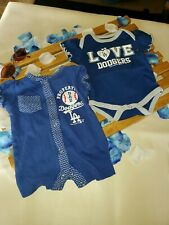 LA Dodgers Infant Baby Size 0-3 Months One Piece Outfits set of 2 #3 blue