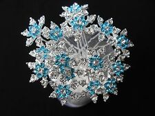 6pcs rhinestone crystal blue snowflake bridal hair pins accessories wedding