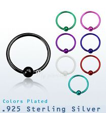 """1pc. 22g~1/4"""", 5/16"""", 3/8""""  Plated .925 Sterling Silver Nose Hoop 2mm Fixed ball"""