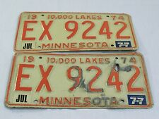 1974 State of Minnesota 10,000 Lakes License Plates #EX 9242 (Matching Pair)