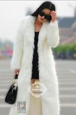 Womens Ladies luxury Long Faux Fur Lapel Winter Coat Outwear Coat Warm trench