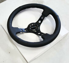 "SALE NRG Steering Wheel 06 BLACK Leather BLACK Stitch Spoke 350mm 3"" DEEP DISH"