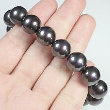 12mm Man Made Black Pearl Round Beads Bracelet Chain BPB116