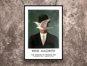 Reprint of a 1966 Vintage exhibition Poster for works by Rene Magritte Best Gift