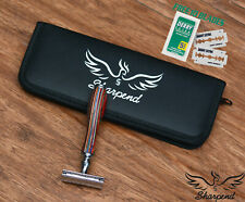 89 Mens Heavy Duty Double Edge Safety Razor Wooden Multi + Free Pouch + Blades