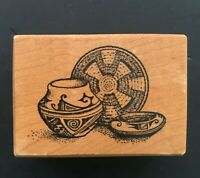 NATIVE AMERICAN INDIAN POTTERY SOUTHWEST DESIGN PSX D-687 Wood Rubber Stamp