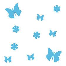 10 Aufkleber Tattoo blau Schmetterlinge & Blumen Auto Möbel Fenster Deko Folie