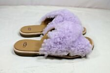 UGG Women's JONI Lavender Fog CURLY SHEEPSKIN SLIDE SANDALS Size 5.5