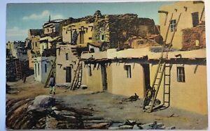 Hopi Indian Pueblo Postcard Vintage Linen Native Americana