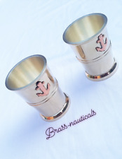 brass goblet wine glass anchor shot glass set of 2 mini glass pack