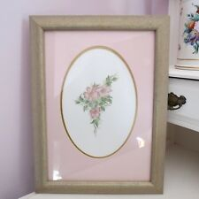 Pretty dogwood rose pencil sketch & water color painting signed Meryl 97