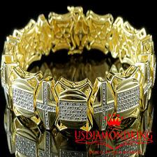 MEN'S .75 CARAT 100% REAL GENUINE DIAMOND 14K YELLOW GOLD FINISH BRACELET 8 INCH