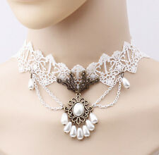 FASHION GORGEOUS PEARL FLORAL WHITE LACE TEARDROP PEARL PEDANT BEST GIFT CHOKER