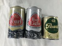 Vintage Pearl Cream Ale Light & Fine Lager Pull Tab Cans Bottom Opened Lot Of 3