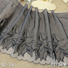 """1 Yard Pretty Delicate Embroidered Scalloped Double Tulle  Lace Trim 8 1/2"""" Wide"""
