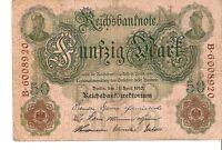Germany Empire banknote Reichsbanknote 50 Mark 1910 Ser. B.6008920 Germania