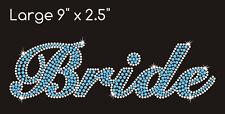 Bride Rhinestone Transfer Iron On or Heat Press in Clear and Aqua Blue GORGEOUS!
