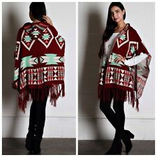 Aztec print Poncho/cape Hooded Fringed Sweater Tribal Boho Gypsy Chic Free Size