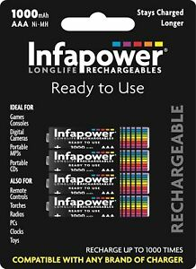 (PACK OF 4) INFAPOWER 1000mAh RECHARGEABLE AAA Ni-MH BATTERIES B002 UK SELLER