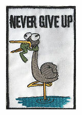 Never Give Up Funny Crane and Frog Cartoon Embroidery Iron on Patches