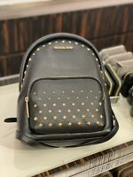 NWT MICHAEL KORS ERIN STUDDED MEDIUM LEATHER SHOULDER BACKPACK FLAME/BLACK