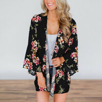 Women's Floral Sheer Loose Kimono Shawl Cardigan Boho Chiffon Beach Coat Blouse