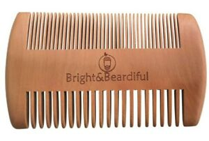 Antistatic Wooden Beard Comb, Coarse & Fine Teeth, Moustache & Beard Grooming