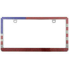 USA American Flag Chrome Bling Crystal Diamond License Plate Frame for Car-Truck