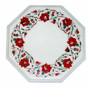 "12"" Marble Table Top Semi Precious Stones Inlay Work Handmade Home Decor"