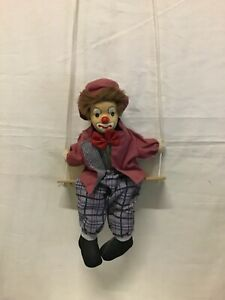 Vintage Clown on a String Puppet Swinging Circus Clown Ornament 14 inch Tall