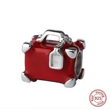 925 SILVER RED ENAMEL SUITCASE TRAVEL BAG CHARM BEAD BIRTHDAY LEAVING GIFT