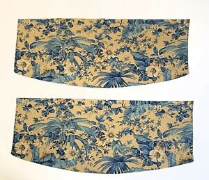 """Set of 2 Handmade Valances 36""""x16"""" Curved Beige & Blue Floral Woven Fabric Lined"""
