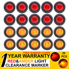 """20 X Bullet Side Marker Tail Lights 3/4"""" LED Truck Trailer Lorry 10 Amber 10 Red"""