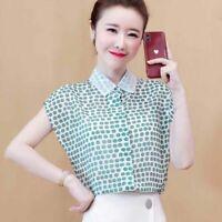 Summer Women Polka Dot Short Sleeve Chiffon Office Button Up Shirts Blouses Tops