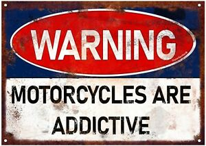 Motorcycles Are Addictive. Motorbike Sign Biker Gift. Garage or Man Cave Plaque.