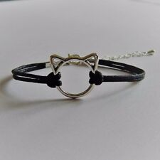 Cute Woman's Silver Cat Bracelet Black Whiskers Wax Cord Adjustable Band Jewelry