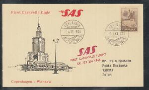 A-24) beautiful FFC First Flight Card SAS 1966 Copenhagen to Warschau Warsaw