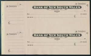 """Australia: 1940-70 Bank of NSW Bowral & Sydney """"2 UNCUT PAIRS"""" + Duty Stamps"""