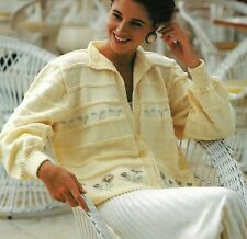 "1049 Ladies Girls Jacket Embroidery Detail 28-40"" Vintage Knitting Pattern"