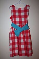 LITTLE JOULES RED/PINK CHECK PICNIC DRESS BLUE  CONSTANCE sash DRESS 128 8