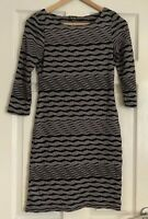 Phase Eight Ruched Style Jersey Bodycon Black & Grey stripe dress size 8