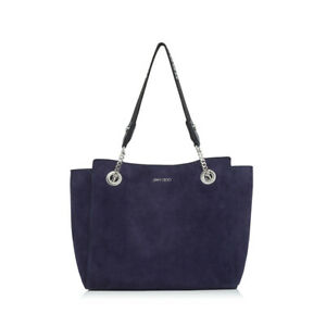 Jimmy Choo Women's FLO Small Navy Suede Shoulder Tote Bag