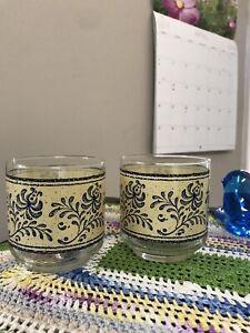 2 Vintage LIBBEY Juice Drink Glasses Blue On Tan Colonial Floral 8 Oz