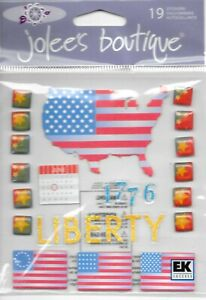 JOLEE'S Boutique Flag Day Dimensional Stickers Travel American Flags