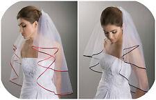 Brautschleier 2-lagig zweilagig mit Satinkante 80 / 60 cm weiß rot schwarz bunt