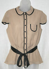 NOUGAT (UK12 / EU40) STONE LINED CAP-SLEEVED BELTED BLOUSE WITH BLACK TRIMS