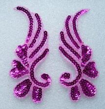 LR17-6 Mirror Pair Floral Sequin Beaded Applique Fuchsia Belly Dance/Dancewear