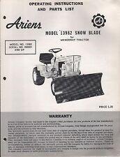 ARIENS MODEL 13982 SNOW BLADE OPERATORS & PARTS MANUAL FORM M40SB-68  (770)