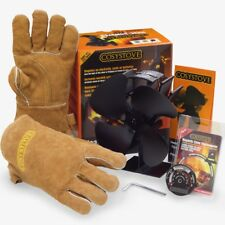 Stove Top Fan Heat Powered + Thermometer + Gloves, Log Wood Burner Cosystove®