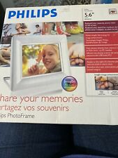 """Philips 6FF3FPW 5.6"""" LCD Digital Picture Frame White w Alarm Clock NEW"""